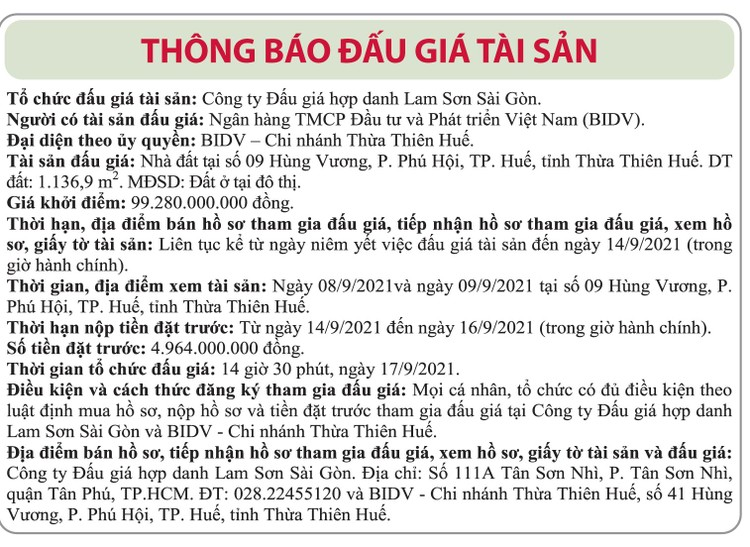 Ngày 17/9/2021, đấu giá nhà đất tại TP.Huế, tỉnh Thừa Thiên Huế ảnh 1
