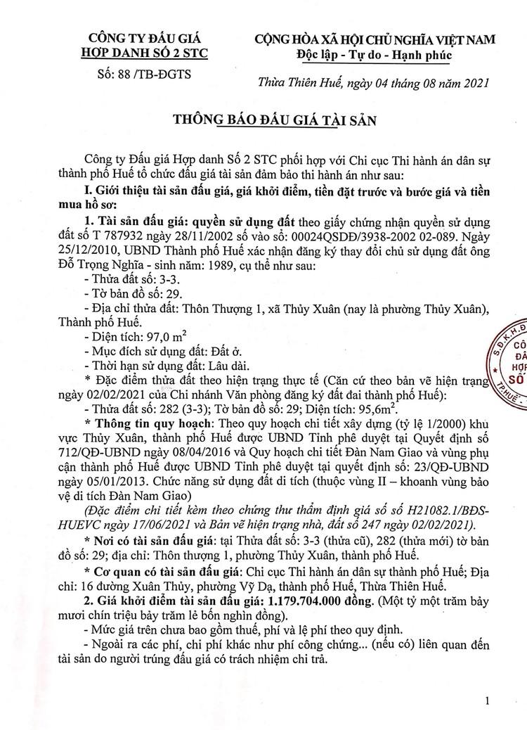 Ngày 10/9/2021, đấu giá quyền sử dụng đất tại thành phố Huế, tỉnh Thừa Thiên Huế ảnh 2