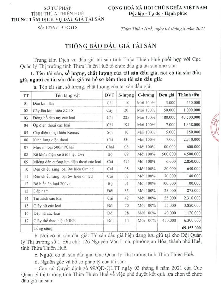Ngày 23/8/2021, đấu giá 17 mặt hàng hóa các loại tại tỉnh Thừa Thiên Huế ảnh 2