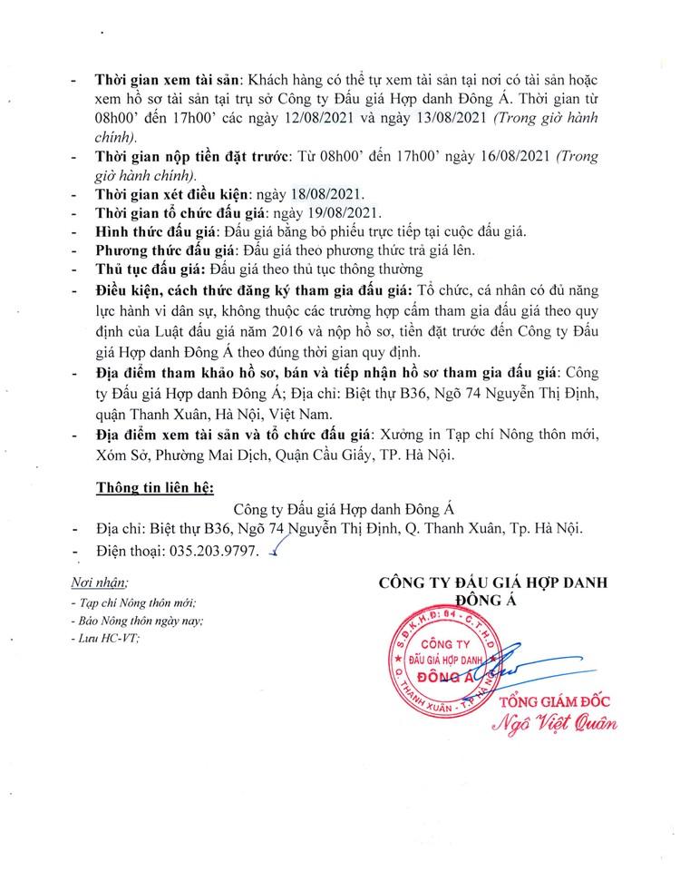 Ngày 19/8/2021, đấu giá máy móc, thiết bị, nhà xưởng, dây chuyền máy in tại Hà Nội ảnh 3