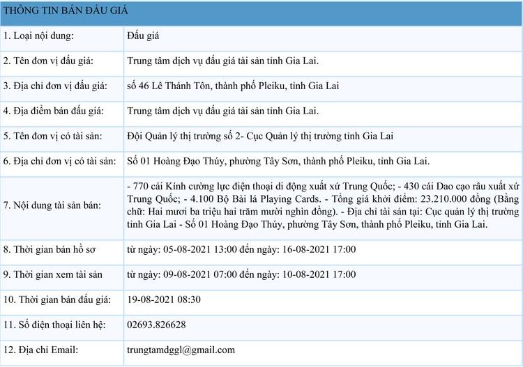 Ngày 19/8/2021, đấu giá 770 cái kính cường lực điện thoại di động tại tỉnh Gia Lai ảnh 1