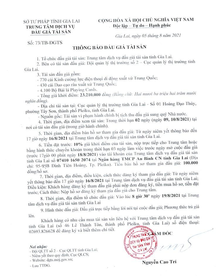Ngày 19/8/2021, đấu giá 770 cái kính cường lực điện thoại di động tại tỉnh Gia Lai ảnh 2