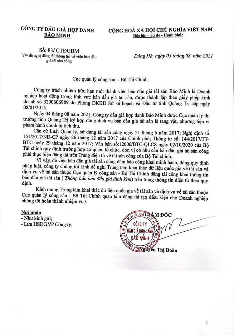 Ngày 23/8/2021, đấu giá tang vật vi phạm hành chính bị tịch thu tại tỉnh Quảng Trị ảnh 2