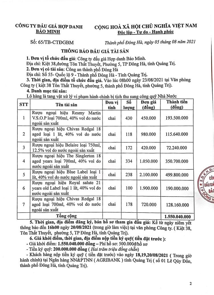 Ngày 23/8/2021, đấu giá tang vật vi phạm hành chính bị tịch thu tại tỉnh Quảng Trị ảnh 3
