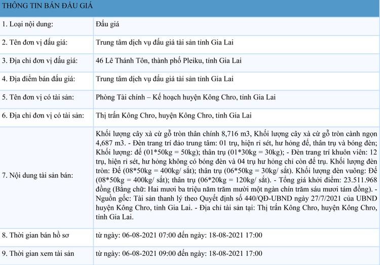 Ngày 23/8/2021, đấu giá cây xà cừ, đèn trang trí tại tỉnh Gia Lai ảnh 1