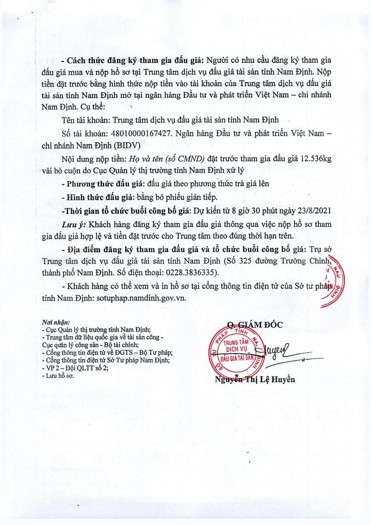 Ngày 23/8/2021, đấu giá 12.536 kg vải bò cuộn tại tỉnh Nam Định ảnh 3