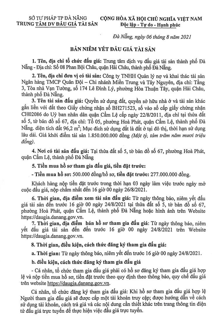 Ngày 27/8/2021, đấu giá quyền sử dụng đất tại quận Cẩm Lệ, thành phố Đà Nẵng ảnh 2