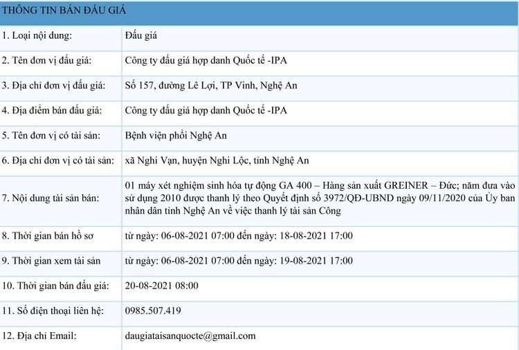 Ngày 20/8/2021, đấu giá 1 máy xét nghiệm sinh hóa tự động GA 400 tại tỉnh Nghệ An ảnh 1
