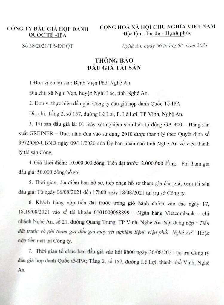 Ngày 20/8/2021, đấu giá 1 máy xét nghiệm sinh hóa tự động GA 400 tại tỉnh Nghệ An ảnh 2