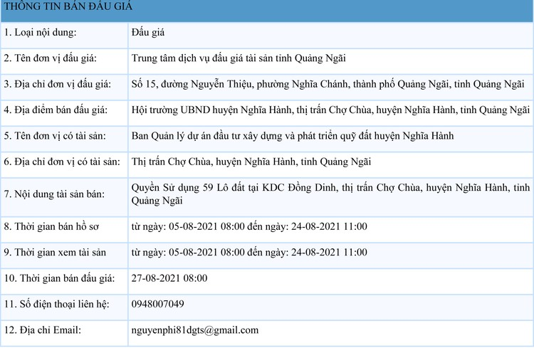 Ngày 27/8/2021, đấu giá quyền sử dụng 59 lô đất tại huyện Nghĩa Hành, tỉnh Quảng Ngãi ảnh 1