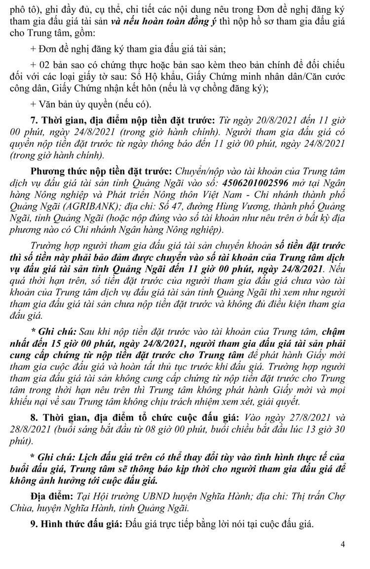 Ngày 27/8/2021, đấu giá quyền sử dụng 59 lô đất tại huyện Nghĩa Hành, tỉnh Quảng Ngãi ảnh 5