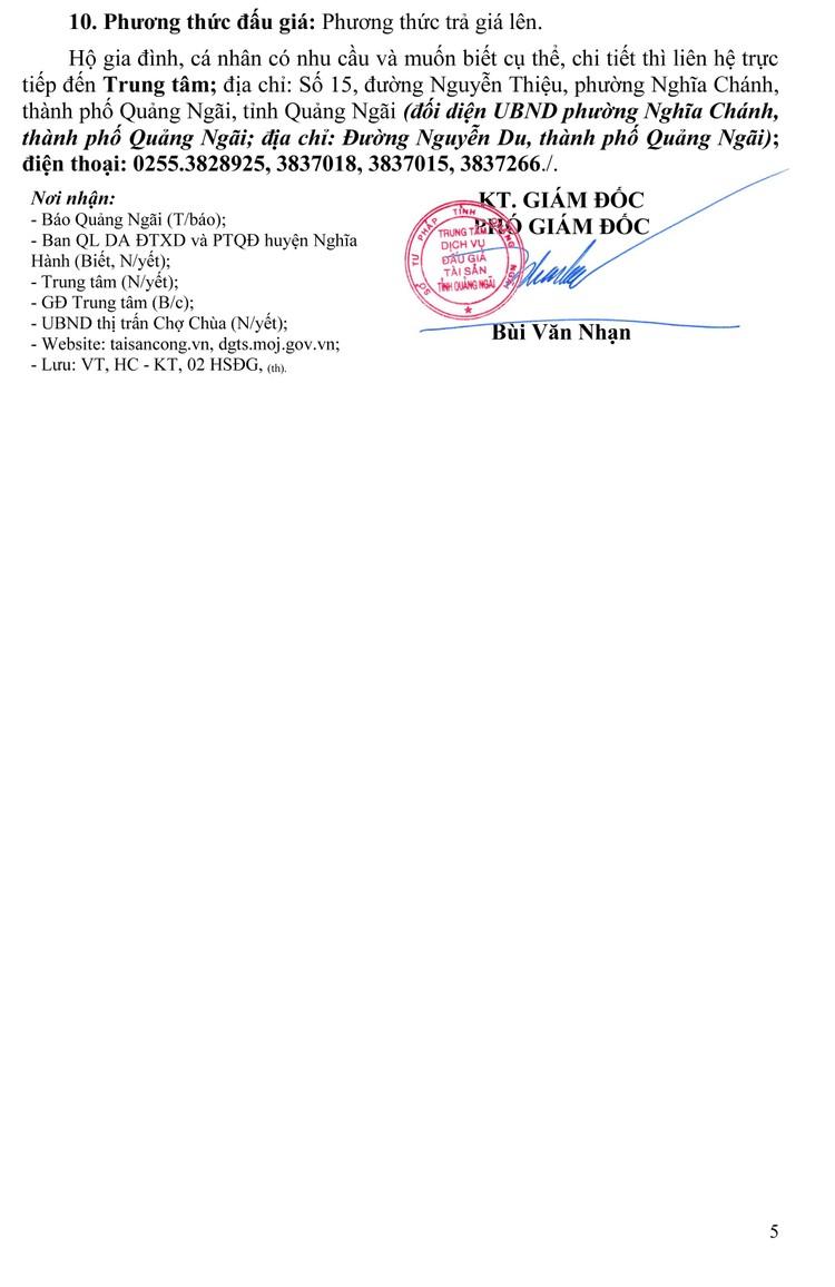 Ngày 27/8/2021, đấu giá quyền sử dụng 59 lô đất tại huyện Nghĩa Hành, tỉnh Quảng Ngãi ảnh 6
