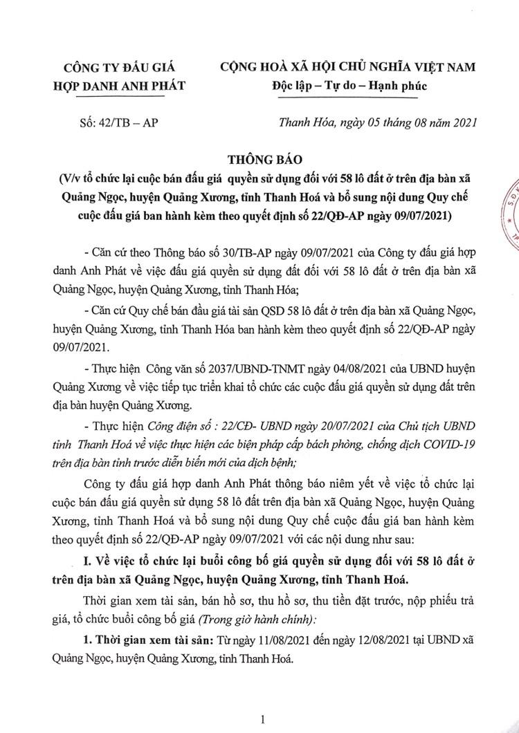 Ngày 24/8/2021, đấu giá quyền sử dụng 58 lô đất tại huyện Quảng Xương, tỉnh Thanh Hoá ảnh 2