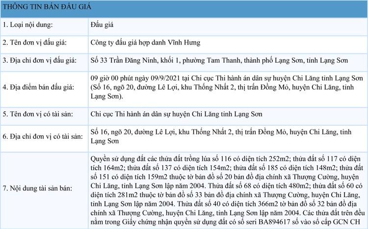Ngày 9/9/2021, đấu giá quyền sử dụng đất tại huyện Chi Lăng, tỉnh Lạng Sơn ảnh 1