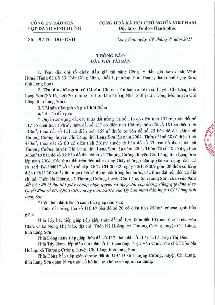 Ngày 9/9/2021, đấu giá quyền sử dụng đất tại huyện Chi Lăng, tỉnh Lạng Sơn ảnh 3