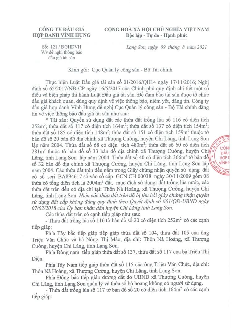 Ngày 9/9/2021, đấu giá quyền sử dụng đất tại huyện Chi Lăng, tỉnh Lạng Sơn ảnh 8