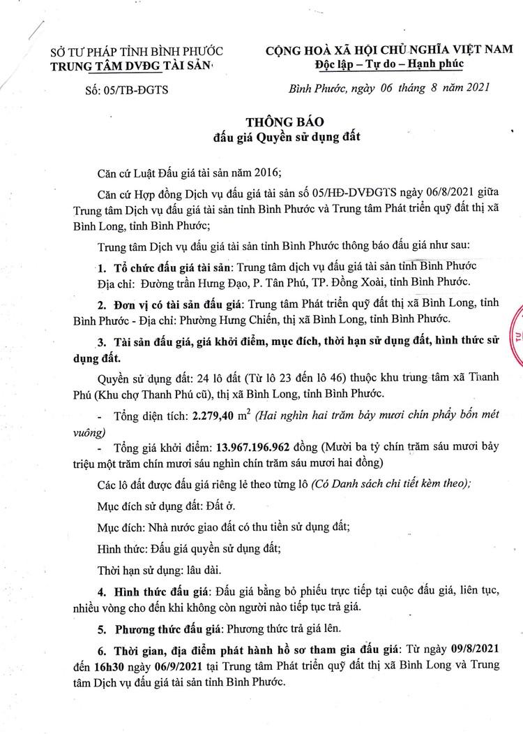 Ngày 9/9/2021, đấu giá quyền sử dụng 24 lô đất tại thị xã Bình Long, tỉnh Bình Phước ảnh 2