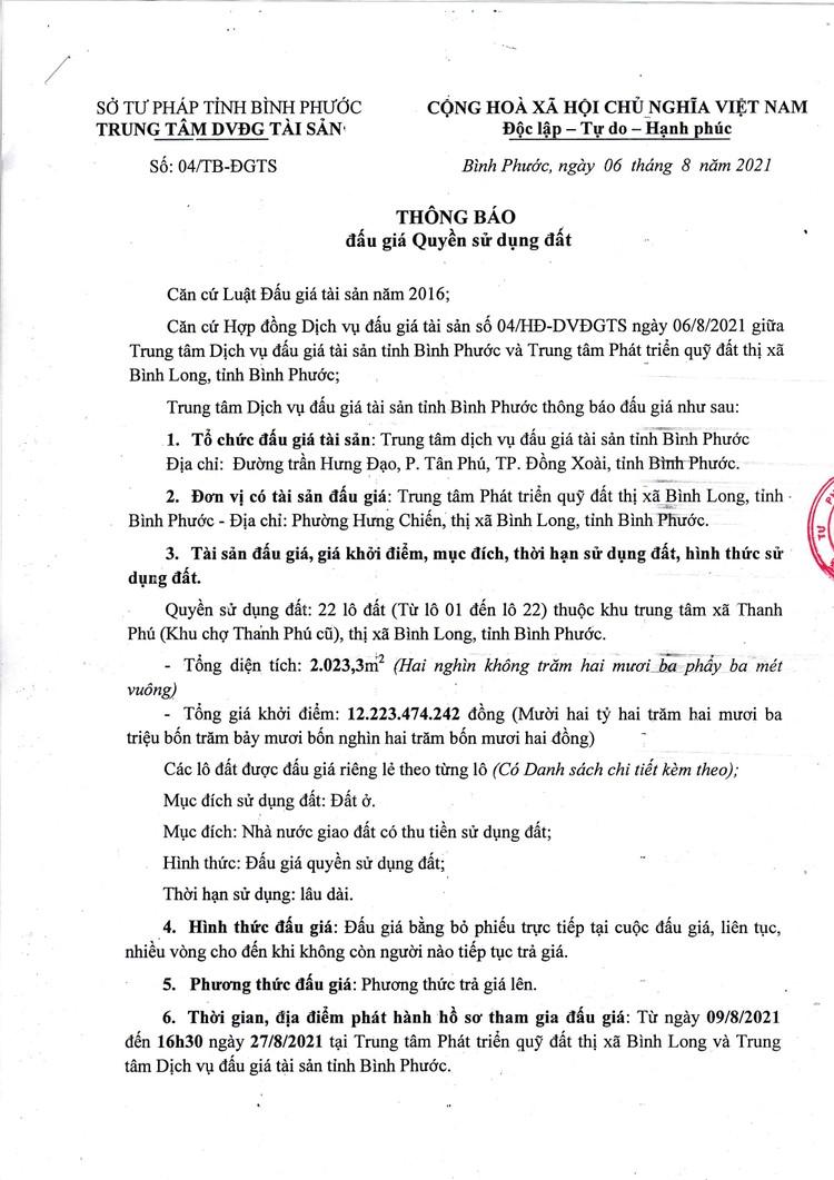 Ngày 30/8/2021, đấu giá quyền sử dụng 22 lô đất tại thị xã Bình Long, tỉnh Bình Phước ảnh 2