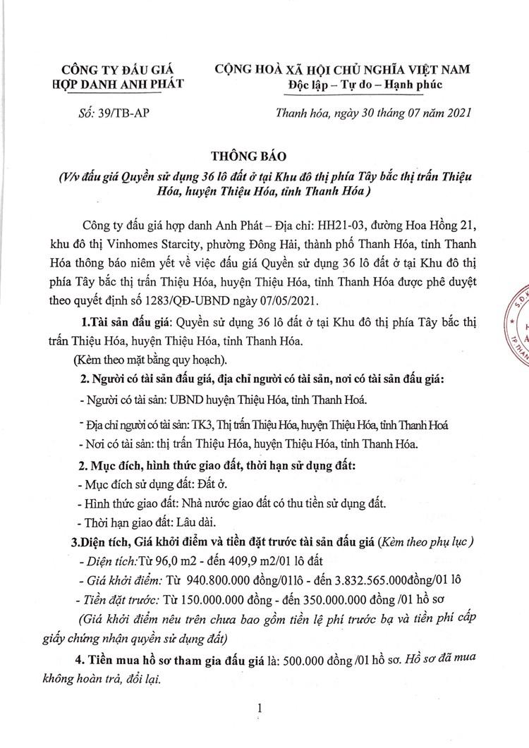 Ngày 28/8/2021, đấu giá quyền sử dụng 36 lô đất tại huyện Thiệu Hóa, tỉnh Thanh Hóa ảnh 2