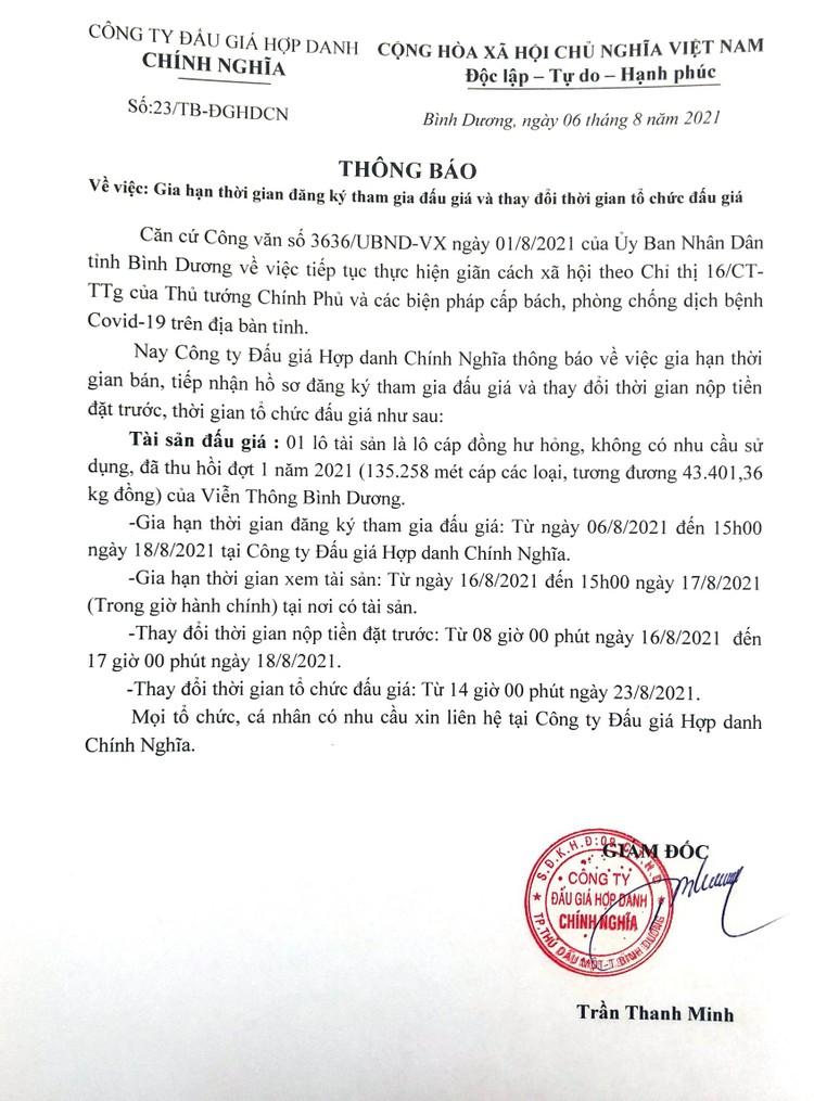 Ngày 23/8/2021, đấu giá cáp đồng hư hỏng thanh lý tại tỉnh Bình Dương ảnh 2