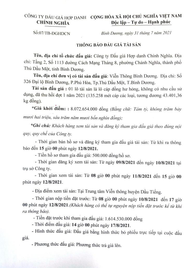 Ngày 23/8/2021, đấu giá cáp đồng hư hỏng thanh lý tại tỉnh Bình Dương ảnh 3
