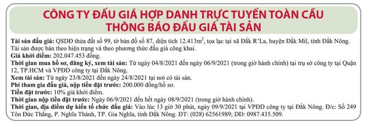 Ngày 9/9/2021, đấu giá quyền sử dụng 12.413 m2 đất tại huyện Đắk Mil, tỉnh Đắk Nông ảnh 1