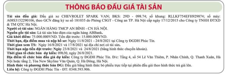 Ngày 26/8/2021, đấu giá xe ô tô Chevrolet tại Hà Nội ảnh 1