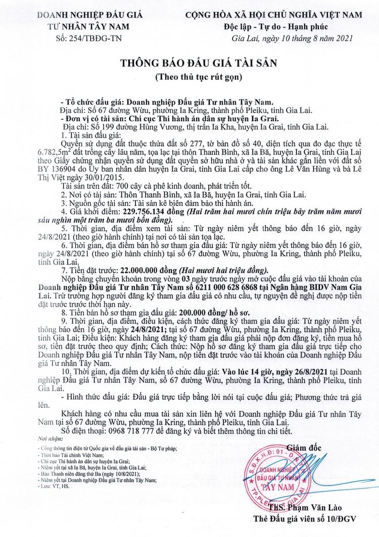Ngày 26/8/2021, đấu giá quyền sử dụng đất tại huyện Ia Grai, tỉnh Gia Lai ảnh 2
