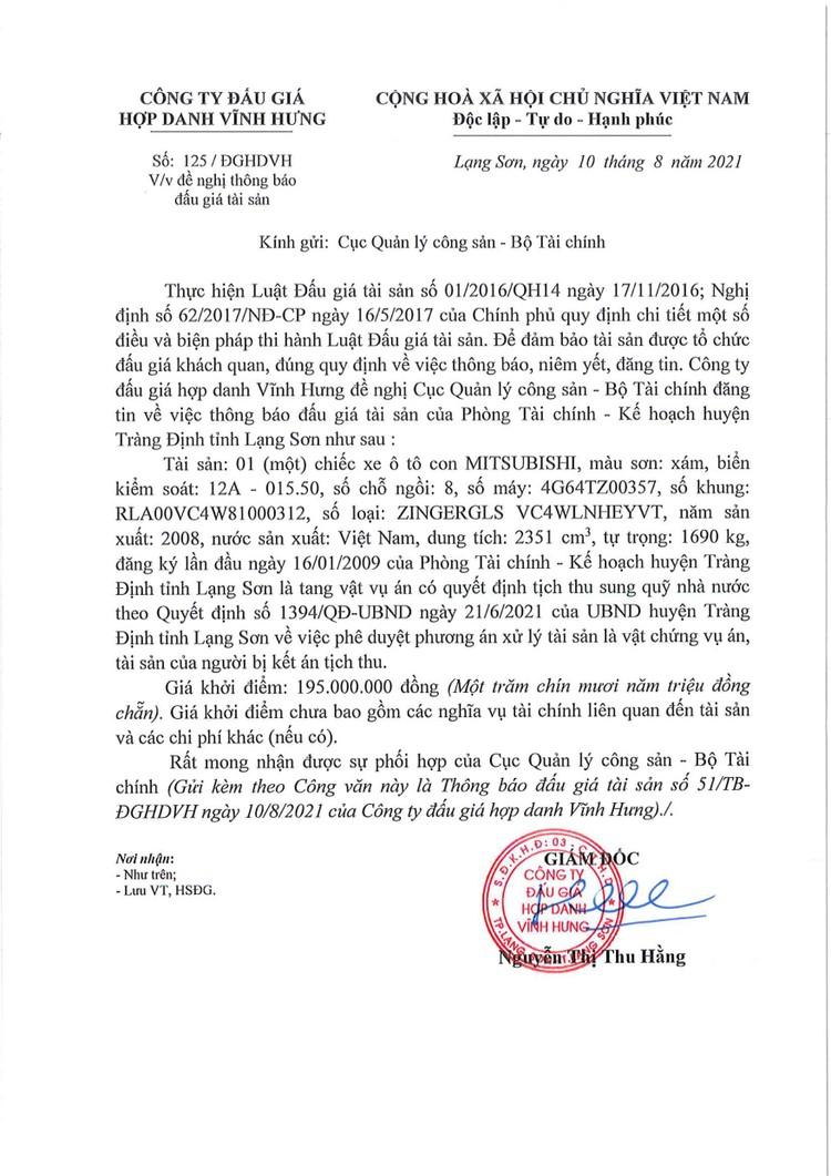 Ngày 27/8/2021, đấu giá xe ô tô MITSUBISHI tại tỉnh Lạng Sơn ảnh 2