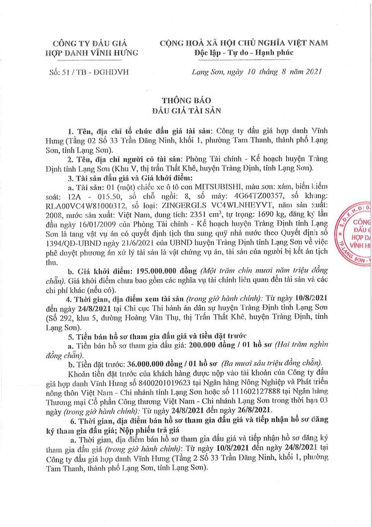 Ngày 27/8/2021, đấu giá xe ô tô MITSUBISHI tại tỉnh Lạng Sơn ảnh 3