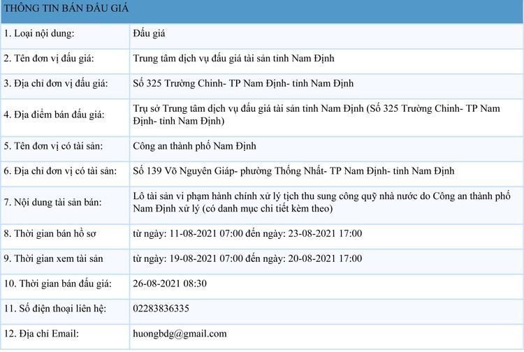 Ngày 26/8/2021, đấu giá tang vật vi phạm hành chính tại tỉnh Nam Định ảnh 1