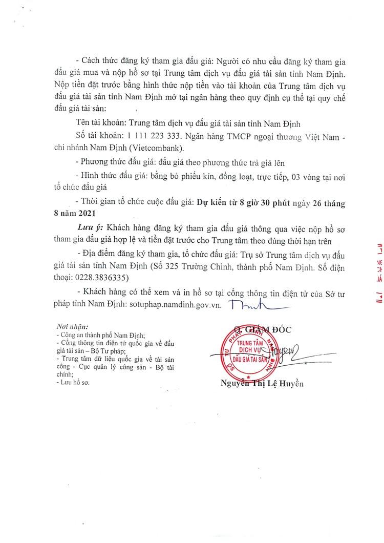 Ngày 26/8/2021, đấu giá tang vật vi phạm hành chính tại tỉnh Nam Định ảnh 3