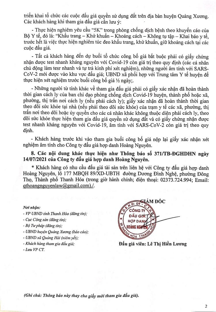 Ngày 1/9/2021, đấu giá quyền sử dụng 54 lô đất tại huyện Quảng Xương, tỉnh Thanh Hóa ảnh 3