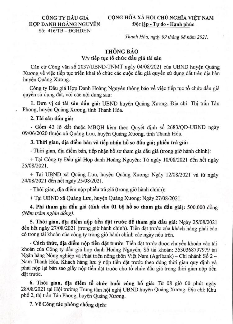 Ngày 28/8/2021, đấu giá quyền sử dụng 43 lô đất tại huyện Quảng Xương, tỉnh Thanh Hóa ảnh 2