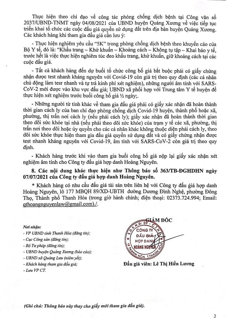 Ngày 28/8/2021, đấu giá quyền sử dụng 43 lô đất tại huyện Quảng Xương, tỉnh Thanh Hóa ảnh 3