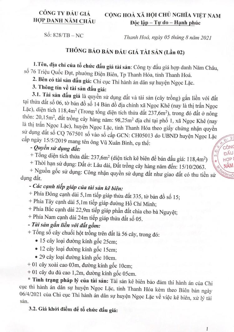 Ngày 27/8/2021, đấu giá quyền sử dụng đất tại huyện Ngọc Lặc, tỉnh Thanh Hóa ảnh 2
