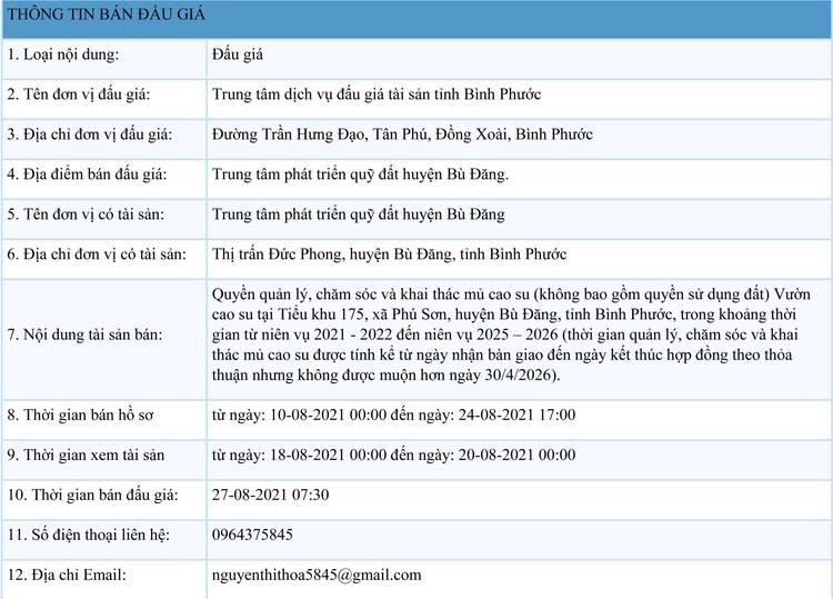 Ngày 27/8/2021, đấu giá quyền khai thác mủ cao su tại tỉnh Bình Phước ảnh 1