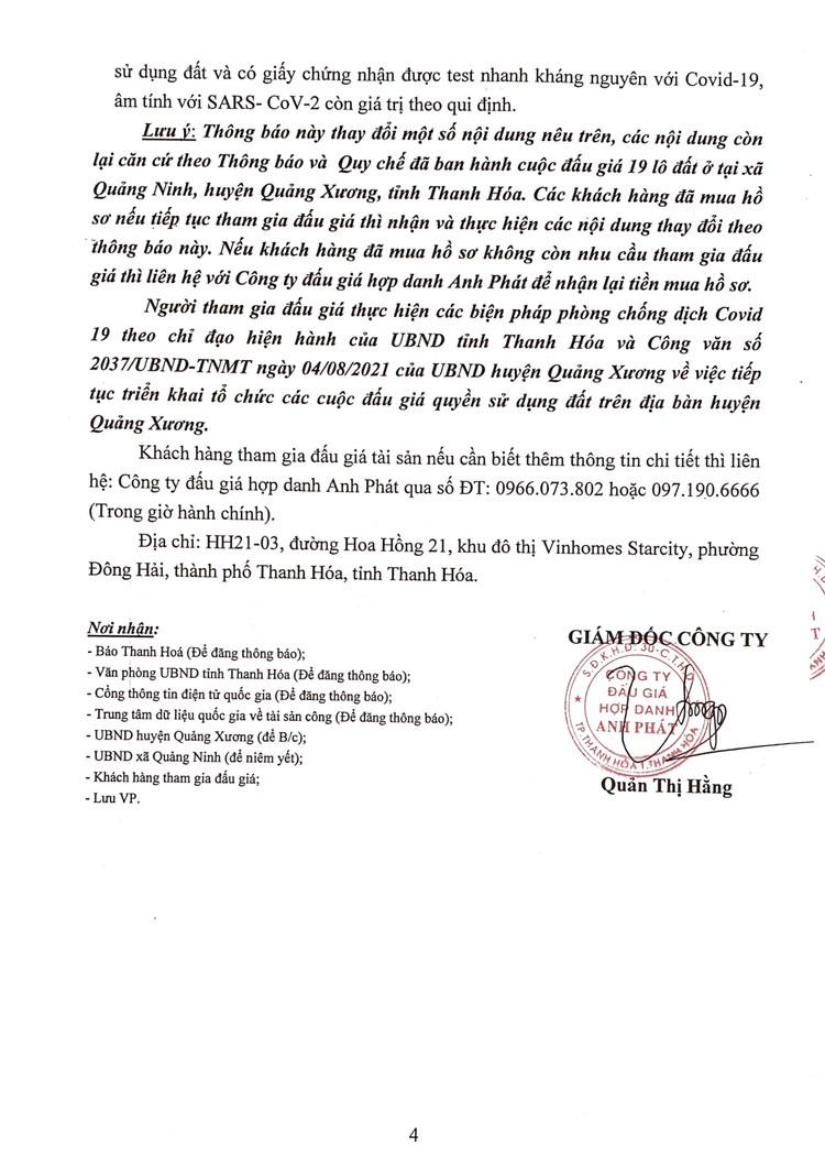 Ngày 27/8/2021, đấu giá quyền sử dụng 19 lô đất tại huyện Quảng Xương, tỉnh Thanh Hoá ảnh 5