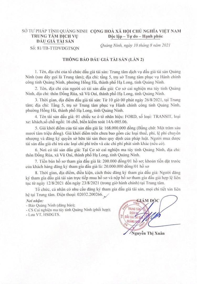 Ngày 26/8/2021, đấu giá xe ô tô Ford tại tỉnh Quảng Ninh ảnh 2