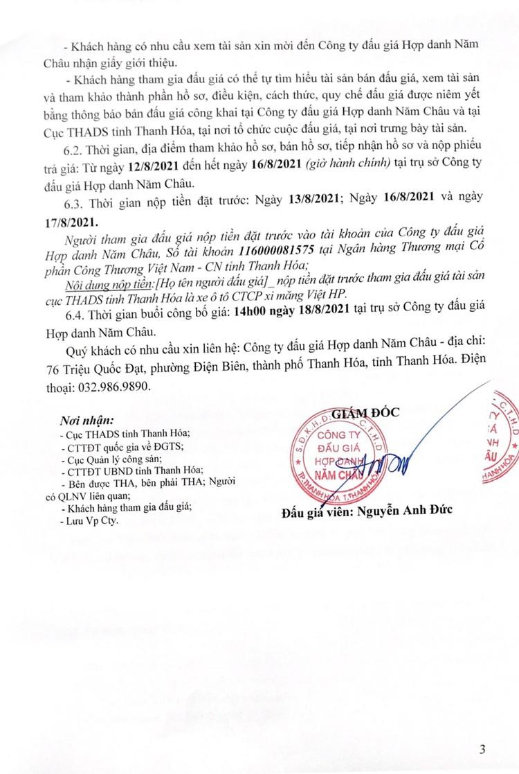 Ngày 18/8/2021, đấu giá xe ô tô MERCEDES-BENZ tại tỉnh Thanh Hóa ảnh 4