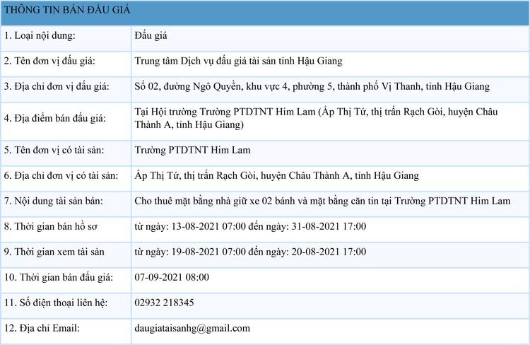 Ngày 7/9/2021, đấu giá cho thuê mặt bằng nhà giữ xe, căn tin tại Trường PTDTNT Him Lam, tỉnh Hậu Giang ảnh 1