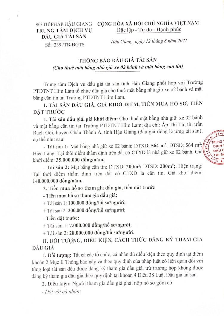 Ngày 7/9/2021, đấu giá cho thuê mặt bằng nhà giữ xe, căn tin tại Trường PTDTNT Him Lam, tỉnh Hậu Giang ảnh 2