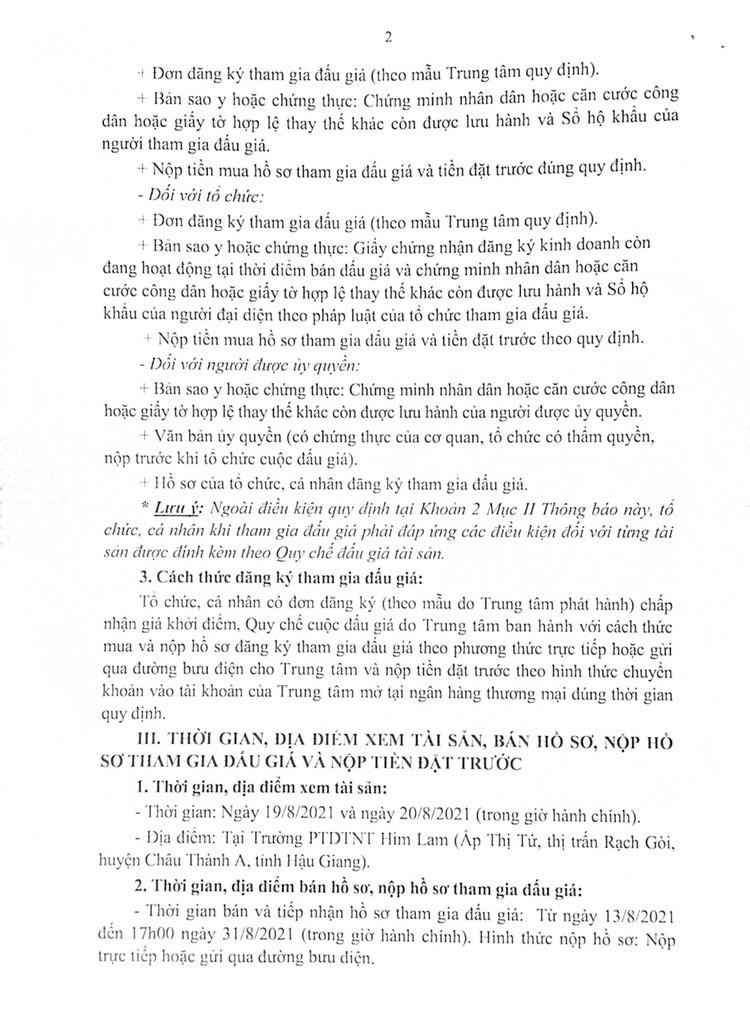 Ngày 7/9/2021, đấu giá cho thuê mặt bằng nhà giữ xe, căn tin tại Trường PTDTNT Him Lam, tỉnh Hậu Giang ảnh 3