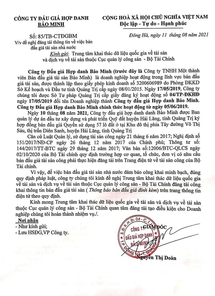 Ngày 9/9/2021, đấu giá quyền sử dụng 57 lô đất tại huyện Hải Lăng, tỉnh Quảng Trị ảnh 2