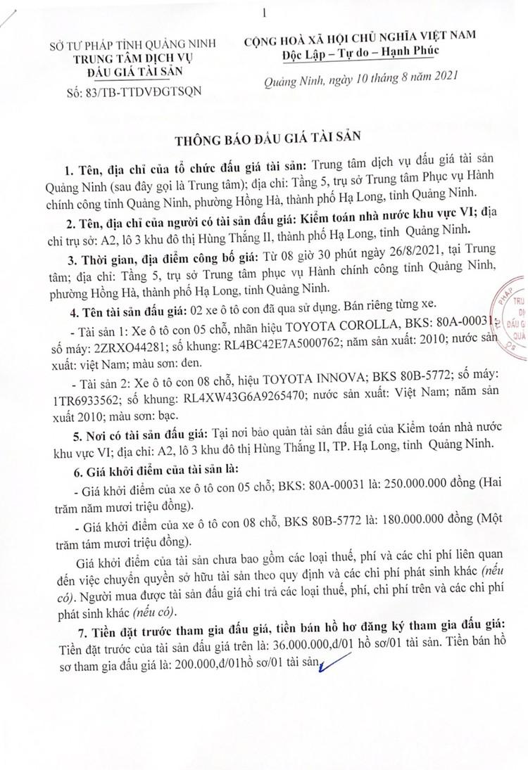 Ngày 26/8/2021, đấu giá 02 xe ô tô tại tỉnh Quảng Ninh ảnh 2