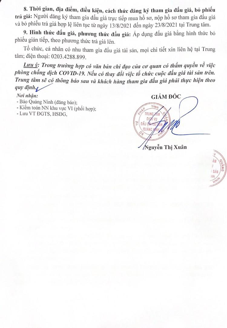 Ngày 26/8/2021, đấu giá 02 xe ô tô tại tỉnh Quảng Ninh ảnh 3