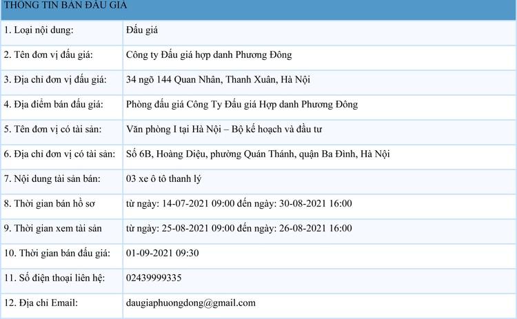 Ngày 1/9/2021, đấu giá 03 xe ô tô thanh lý tại Hà Nội ảnh 1