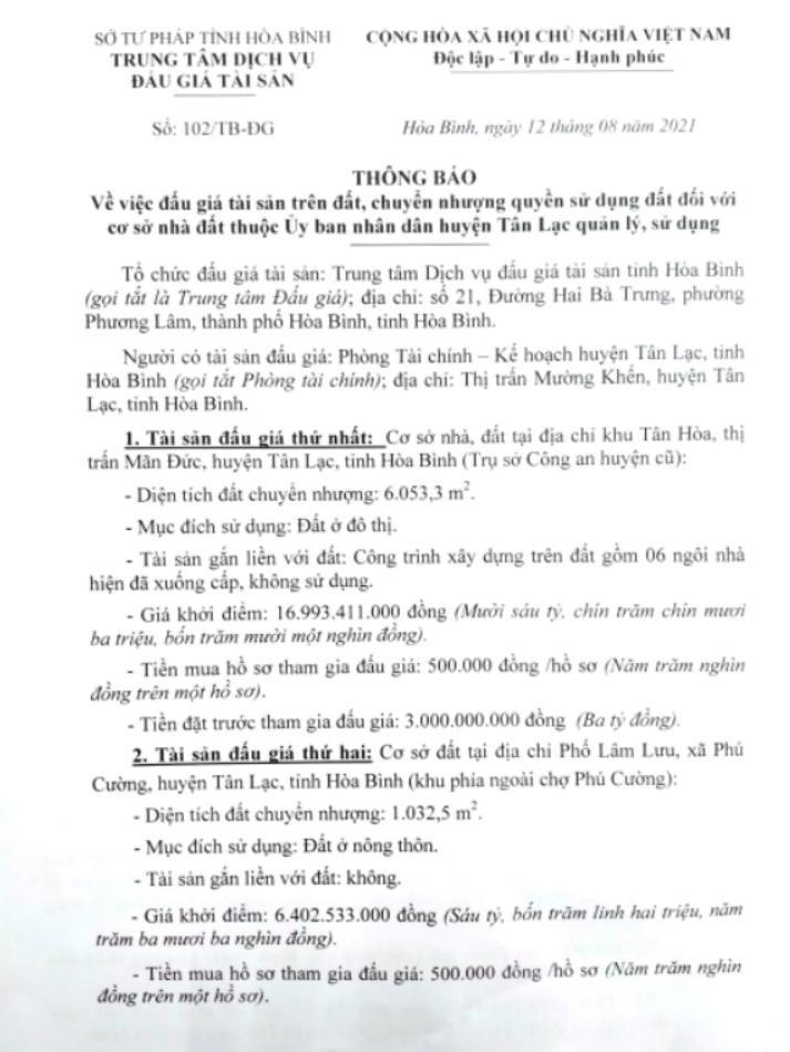 Ngày 31/8/2021, đấu giá quyền sử dụng đất tại huyện Tân Lạc, tỉnh Hòa Bình ảnh 2