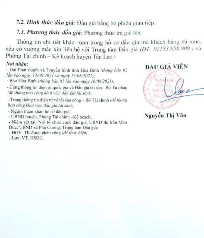 Ngày 31/8/2021, đấu giá quyền sử dụng đất tại huyện Tân Lạc, tỉnh Hòa Bình ảnh 4
