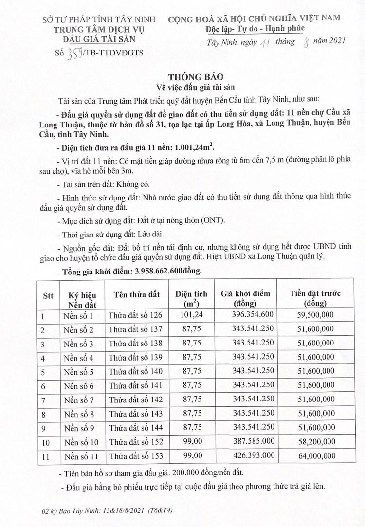 Ngày 9/9/2021, đấu giá quyền sử dụng 1.001,24m2 đất tại huyện Bến Cầu, tỉnh Tây Ninh ảnh 2